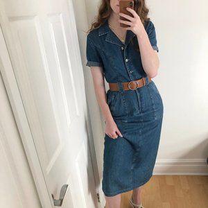 Vintage Boho Western Denim Jean Belted Midi Dress